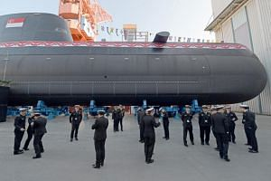 The launch of the Invincible, the Republic of Singapore Navy's first German Type 218SG submarine, in Kiel, Germany, on Feb 18, 2019.