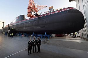 The Invincible was launched yesterday at German defence contractor thyssenkrupp Marine Systems' shipyard in port city Kiel in north Germany. The Type 218SG submarine is customised for Singapore's operating environment, particularly the shallow and bu