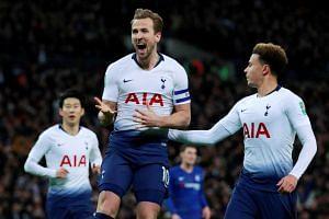 Tottenham's Harry Kane celebrates after scoring a goal against Chelsea, on Jan 8, 2019.