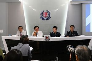(From left) Mr Tan Puay Kern, vice-chairman, National Crime Prevention Council; Mr David Chew, director, Commercial Affairs Department; DC Florence Chua, Deputy Commissioner of Police (Investigation and Intelligence); and SAC How Kwang Hwee, director