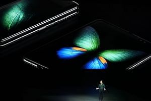 Mr Justin Denison, Samsung's SVP of Product Marketing, unveiling the Galaxy Fold foldable smartphone during the media event in San Francisco.