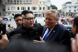 Kim Jong-un impersonator Howard X (left) and Donald Trump impersonator Russell White at the Opera House in Hanoi, Vietnam on Feb 22, 2019.