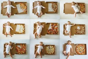 Collage of 12 photos showing Lorenzo's progress using pizza slices that his mother shared on her Facebook page.