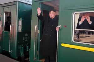 North Korean leader Kim Jong Un departing Pyongyang Station by train for the second North Korea-US summit in Hanoi, Vietnam, on Feb 23, 2019.