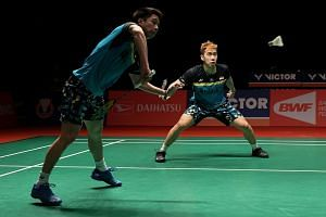 Top-ranked men's doubles pair Kevin Sukamuljo (left) and Marcus Gideon will be part of a 50-strong contingent from Indonesia at the Singapore Badminton Open.