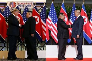 The most obvious difference is that the two leaders came from different sides. In Singapore, Mr Trump approached from the right and Mr Kim from the left. In Hanoi, it was the opposite.