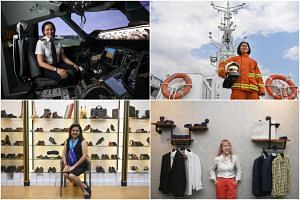(Clockwise from top left) SilkAir pilot Vanessa Ess, Singapore Civil Defence Force marine rota commander Pek Hong Kun, founder of custom garment label 3Eighth Sheryl Yeo and founder of Vincitore Shoes Nita Chauhan.