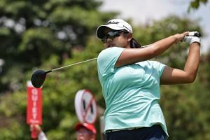 Singapore golfer Amanda Tan teeing off during the final round of the HSBC Women's World Championship, on March 3, 2019.