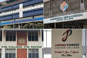(Clockwise from top left) Yishun Innova Junior College, Anderson Serangoon Junior College, Jurong Pioneer Junior College and Temasek Junior College.