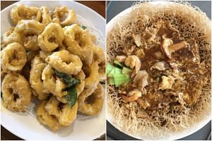 Smith Marine's salted egg yolk squid and Yummy Palace's Cantonese crispy bee hoon.