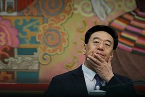 Tibet's Communist Party boss Wu Yingjie at a news conference during the National People's Congress in Beijing, China, on March 6, 2019.