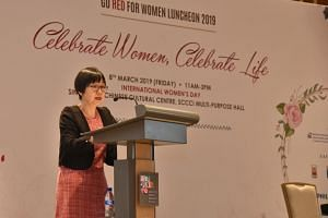 Cardiologist Goh Ping Ping giving her opening address at the Go Red For Women Luncheon on March 8, 2019. She said that