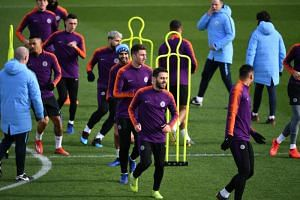 Manchester City players training at the City Football Academy on March 11, 2019, ahead of their Champions League round of 16 match against Schalke.