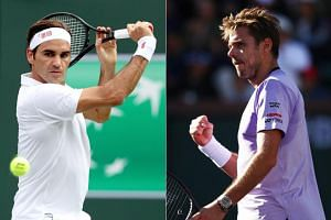Roger Federer (left) and Stan Wawrinka will fight for a fourth-round berth at the ATP Indian Wells Masters on March 12, 2019, the 25th meeting in a rivalry that Federer has dominated.