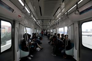 Indonesian Mass Rapid Transit train passengers during a trial in Jakarta on March 12, 2019. Jakarta is scheduled to officially launch the Mass Rapid Transit's operational phase at the end of March 2019.