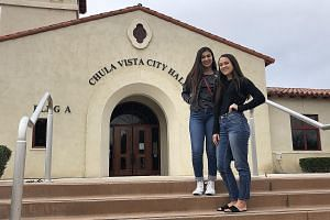 US high school student Kate Anchondo (left) is organising a school strike against climate change in San Diego, with Ms Sara Wanous from activist group Citizens Climate Lobby. Ms Wanous says the lobby has seen students across the US pressure governmen
