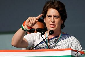 Priyanka Gandhi Vadra, a leader of India's main opposition Congress party, addresses her party's supporters during a public meeting in Gandhinagar, India on March 12, 2019.