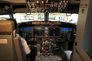 The cockpit of a Boeing 737 MAX 8 aircraft pictured during an induction ceremony at the Chhatrapati Shivaji International Airport in Mumbai, on June 28, 2018.