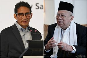 Incumbent Joko Widodo's running mate Ma'ruf Amin (right) and rival Prabowo Subianto's Sandiaga Uno (left) are now gearing up for their upcoming face-off.