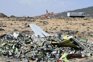 A heap of debris from the wreckage of the Ethiopia Airlines Boeing 737 Max 8 aircraft that crashed is seen near Bishoftu, Ethiopia, on March 13, 2019.