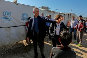 UN high commissioner for refugees Filippo Grandi during his visit at the Syrian refugees' informal settlement in Mohammara, Akkar province northern Lebanon, on March 9, 2019, ahead of the eighth anniversary since the start of the Syria crisis.