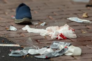 Bloodied bandages on the road following a shooting at Al Noor Mosque on Deans Avenue in Christchurch, New Zealand, on March 15, 2019.