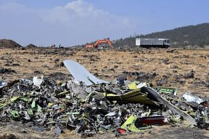The wreckage of Ethiopia Airlines Boeing 737 Max 8 aircraft are piled at the crash site.