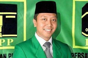 United Development Party chairman Muhammad Romahurmuziy was detained in Surabaya, Indonesia on March 15, 2019.