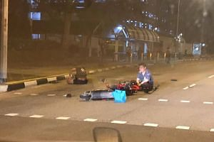 A 27-year-old man was conscious when taken to Sengkang General Hospital after the collision.