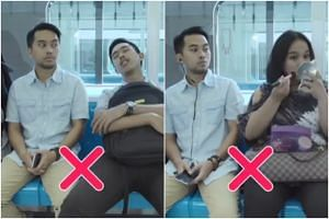 """The video, entitled """"Guide to five behaviours on public transportation"""", shows passengers behaving in different ways."""