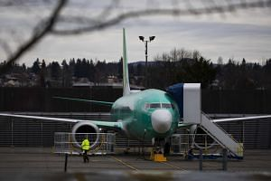A new, unpainted 737 Max 9 at Boeing's plant in Renton, Washington, on March 17, 2019.