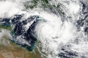 A satellite image of cyclone Trevor as it approaches the coast of Queensland, near Lockhart River, Australia, on March 19, 2019.