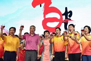 (From left) Education Minister Ong Ye Kung, Prime Minister Lee Hsien Loong, Minister for Culture, Community and Youth Grace Fu, MP Lim Wee Kiak, Senior Minister of State for Trade and Industry Chee Hong Tat and Senior Minister of State for Communicat