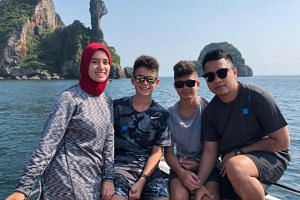 Mosque shooting victim Sayyad Milne (second from right) with his twin siblings (from far left) Cahaya and Shuayb, and cousin Khairul Ab Karim (far right).