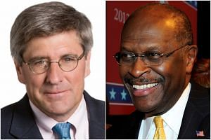 Stephen Moore (left) and Herman Cain are being considered by the president for a seat on the Federal Reserve Board.