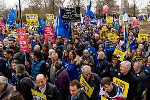 People attending a march and rally to demand a second Brexit referendum in central London, on March 23, 2019.
