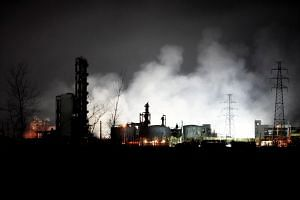 Smoke billows from the pesticide plant owned by Tianjiayi Chemical following an explosion, in Xiangshui county, Yancheng, Jiangsu province, China, on March 22, 2019.
