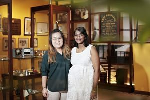 Childcare teacher K. Durga with her boss Lim Cai Ying, principal of Star Learners childcare centre in Woodlands Circle. Mrs Durga, who is almost due to give birth to her third child, was diagnosed with tuberculosis while she was on maternity leave fo