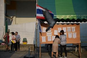 Preparations underway at a voting station in the Huay Kwang district in Bangkok on March 24, 2019.