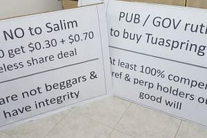 Signs which several Hyflux investors are planning to display at the Speakers' Corner on March 30, 2019.