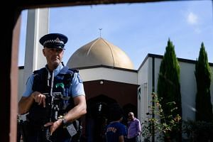 A policeman guards the premises of the Al Noor Mosque in Christchurch, New Zealand on March 23, 2019.