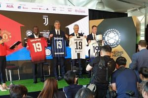 Legends from the clubs - Dwight Yorke (Manchester United), Francesco Toldo (Inter), Fabrizio Ravanelli (Juventus) and Teddy Sheringham (Tottenham) are present at the announcement of the four clubs' participation in the International Champions Cup (IC