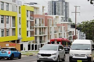 A row of newly built apartment blocks is seen in the suburb of Epping, Sydney.
