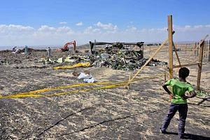 Forensic investigators comb the ground for DNA evidence near a pile of twisted airplane debris at the Ethiopian Airlines crash site, on March 16, 2019.