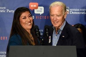 Nevada ex-lawmaker Lucy Flores introducing former US Vice President Joe Biden at a rally in a union hall, on Nov 1, 2014, in Las Vegas, Nevada.