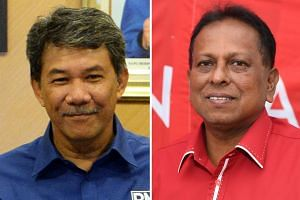 Today is Nomination Day for the Rantau seat. Umno's Mr Mohamad Hasan (left) is set to face off against PKR's Dr S. Streram again.