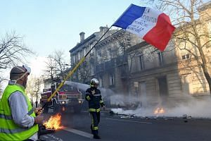 """A yellow vest protester with a French flag reading """"The ongoing revolution. Stop the dictatorship"""" as firefighters tried to extinguish a burning barricade in Bordeaux on Saturday. From the beginning, the movement found it hard to articulate what, exa"""