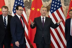 (From left) US Trade Representative Robert Lighthizer, US Treasury Secretary Steven Mnuchin, Chinese Vice-Premier Liu He, and People's Bank of China governor Yi Gang, in Beijing on March 29, 2019.