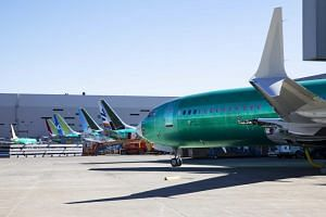 A Boeing 737 Max 8 plane at the Boeing plant in Renton, Washington on March 20, 2019.