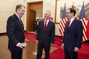 Chinese Vice-Premier Liu He flanked by US Treasury Secretary Steven Mnuchin (far right) and US Trade Representative Robert Lighthizer at Diaoyutai State Guesthouse in Beijing last Friday.